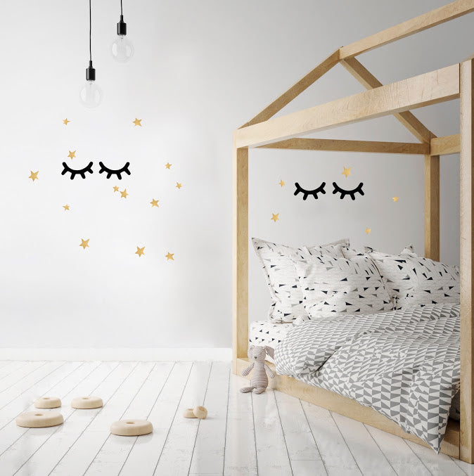 Large Eyelashes and Stars Wall Stickers - Black/Gold