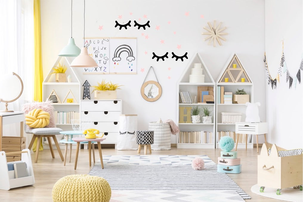 Large Eyelashes and Stars Wall Stickers - Black/Pink