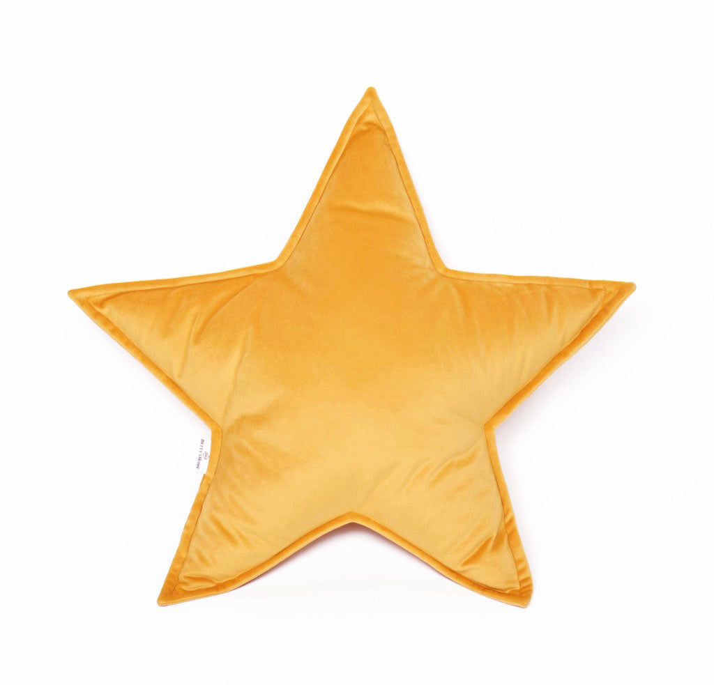 Velvet Star Shaped Cushion - Yellow