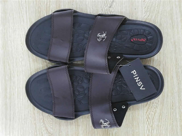 Summer Slippers Men PU Leather - TungBOBO