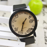 2015 New Women Girls Fuax Leather Strap Round Dial Quartz Wrist Watch - TungBOBO