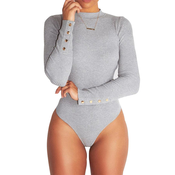 Women Sexy Long sleeve jumpsuits Grey and Brown - TungBOBO