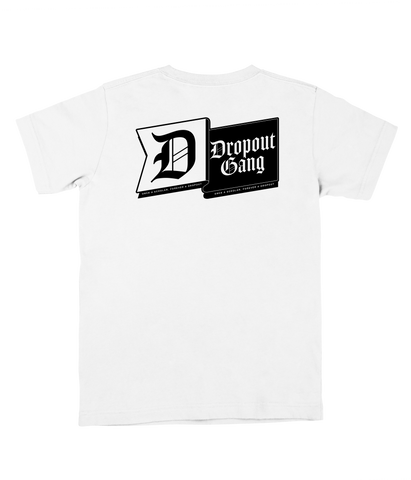"""Once a Scholar, Forever a Dropout"" White Tee"