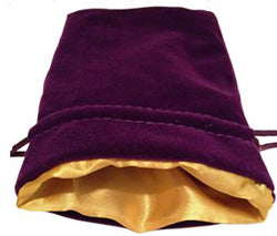 "4""X6"" PURPLE VELVET DICE BAG WITH GOLD SATIN LINING"