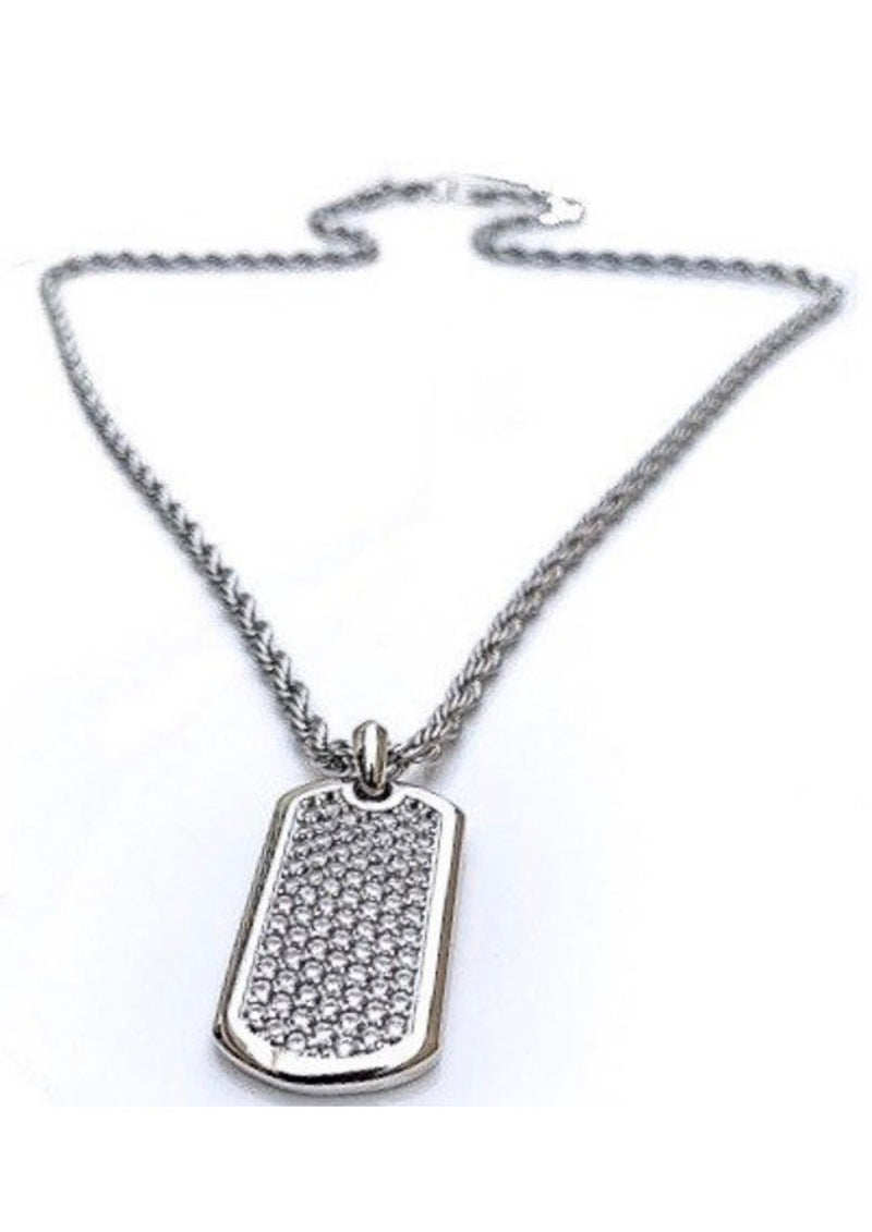 J. Vartani Couture Silver Stud Dog Tag Necklace