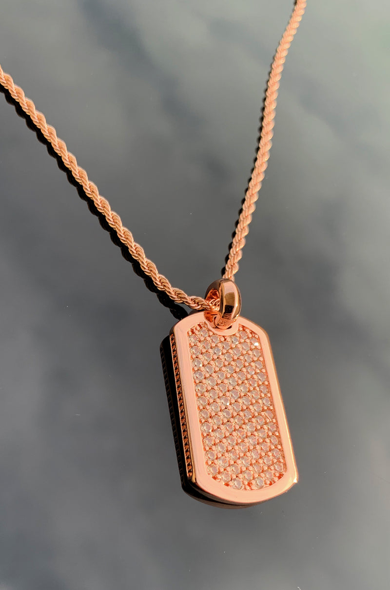 J. Vartani Couture Rose Gold Champagne Dog Tag