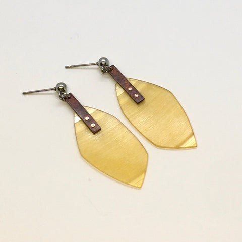Clear yellow copper earrings