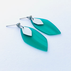 Green steel earrings