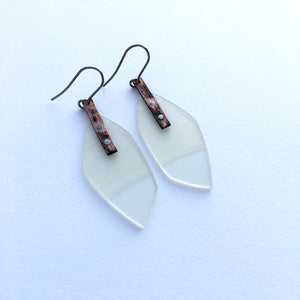 Clear copper earrings