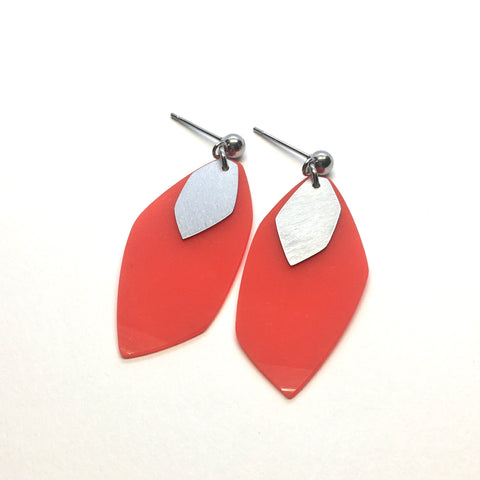 Red steel earrings