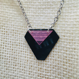 Black and pink stacked necklace