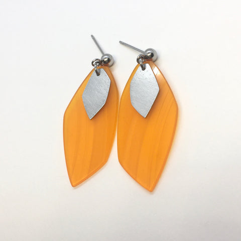 Orange steel earrings