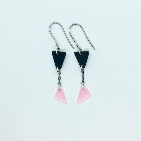Black and pink dangling triangle earrings