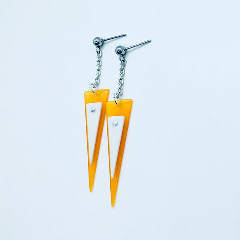 Riveted triangle earrings