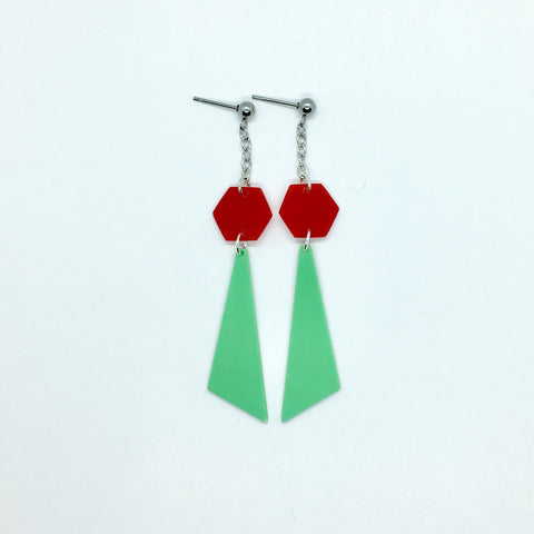 Mint green and red hexagon earrings