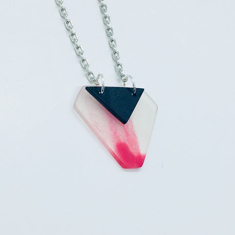 Pink marble and black stacked necklace