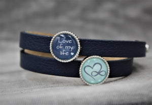 "Armband, doppelt dunkelblau, ""Love of my life"" Endless Love"