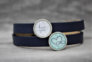 "Armband, doppelt dunkelblau, ""Love you"" Endless Love"