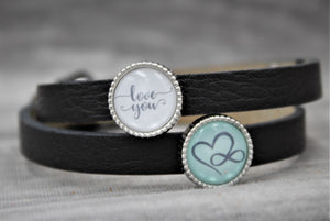 "Armband, doppelt dunkelgrau, ""love you"" Endless Love - SchmuckWert"