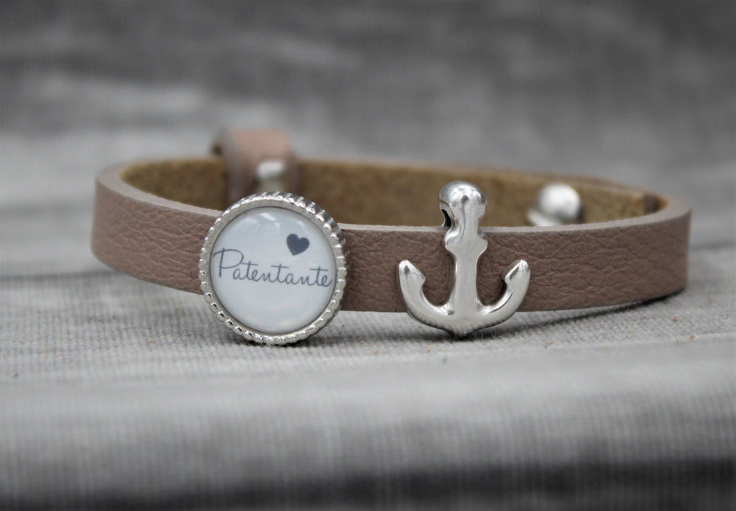 Armband, taupe, Patentante, Anker - SchmuckWert