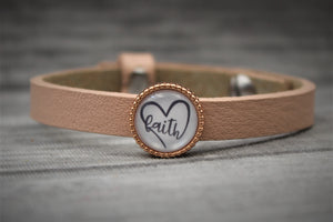 "Armband ""faith"", zartrosa small"