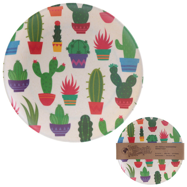 Bambootique Eco Friendly Cactus Design Plate