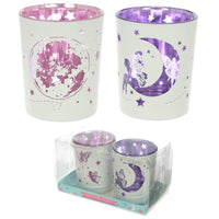 Glass Candleholder Set of 2 - Fairy Moon