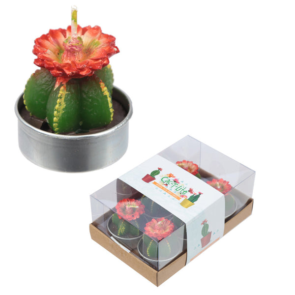 Fun Mini Candles - Cactus with Red Flower Set of 6 Tea Lights