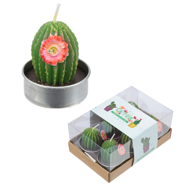 Fun Mini Candles - Spiky Cactus with Flower Set of 6 Tea Lights