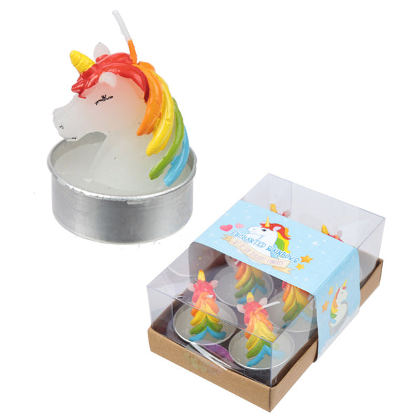 Fun Mini Candles - Rainbow Unicorn Set of 6 Tea Lights