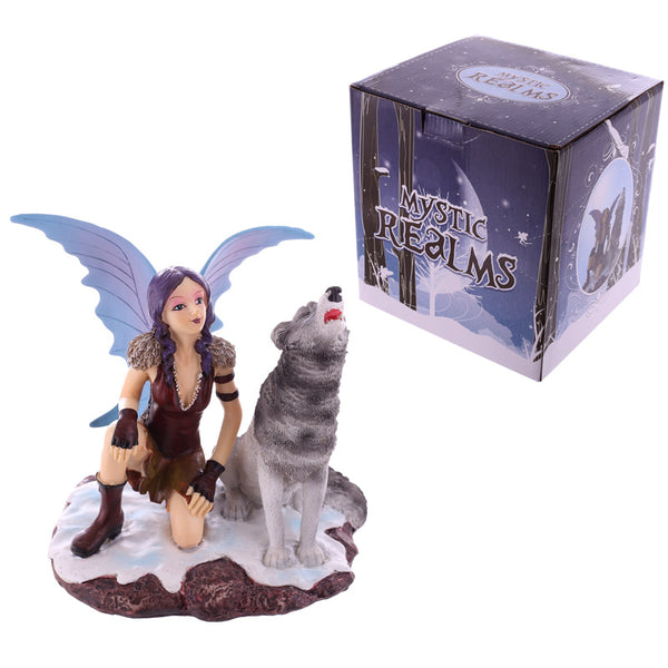 Mystic Realms Collection Fantasy Crouching Snow Fairy and Wolf