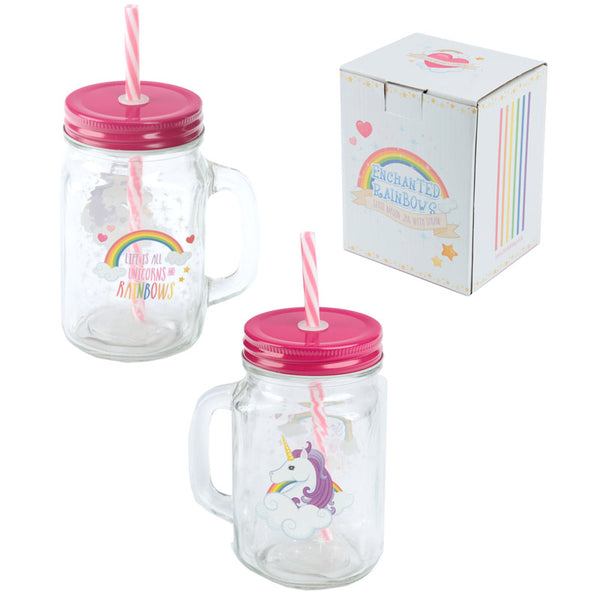 Cute Unicorn Drinking Jar with Straw