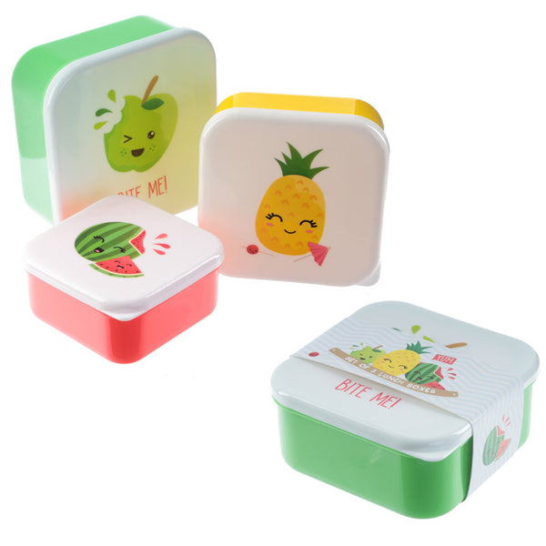 Fun Fruit with Faces Design Set of 3 Plastic Lunch Boxes