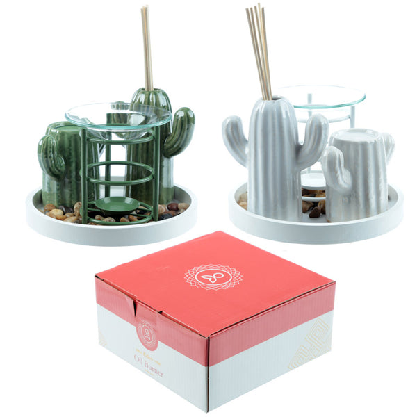Eden Aroma Set - Metal Oil Burner & Ceramic Cactus Diffuser