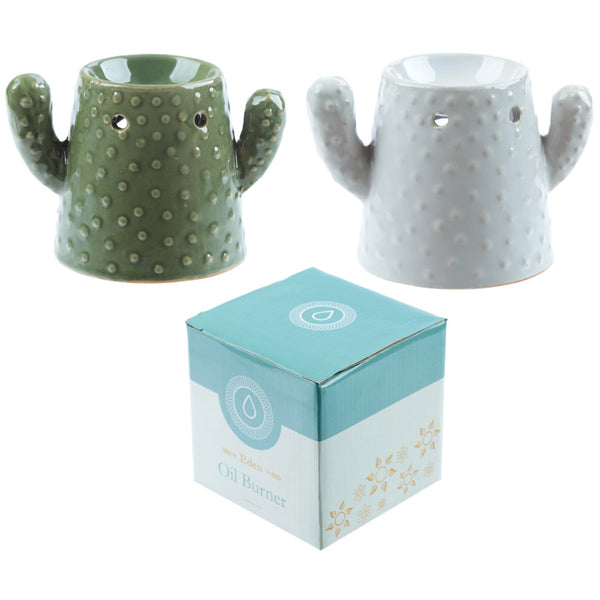 Eden Aroma Set - Ceramic Cactus Oil Burner