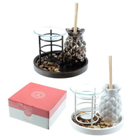 Eden Aroma Set - Metal Oil Burner & Ceramic Pineapple Diffuser