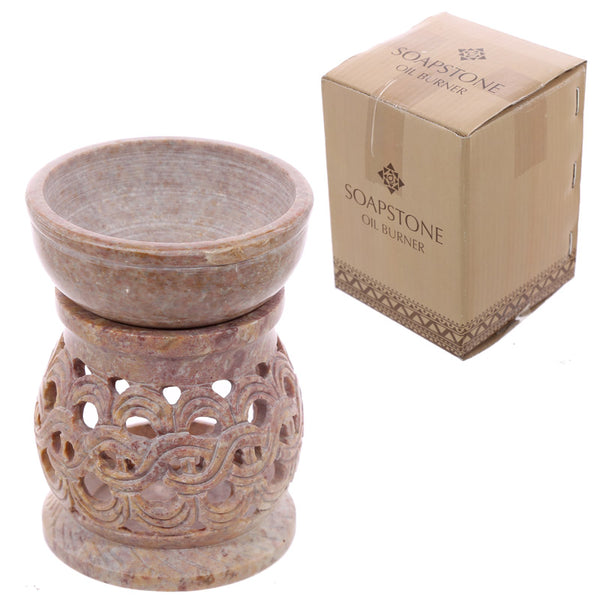 Soapstone Oil Burner - Pale with Spiral Pattern