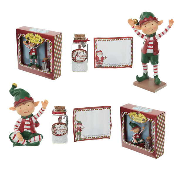 Festive Message to Santa Set - Christmas Elf Figure Wishes Jar