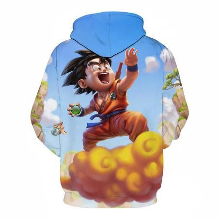 Pullover Hoodie - Dragon Ball Z Hoodie Featuring 3D Kid Goku 悟空 Surfing On Nimbus 筋斗雲