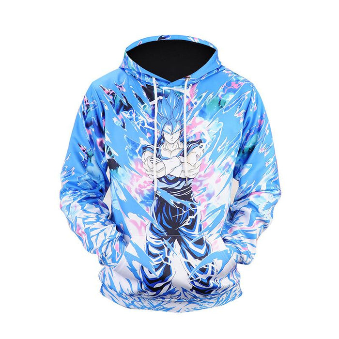 Pullover Hoodie - Dragon Ball Z Hoodie Featuring Arms Crossed Vegito ベジット Super Saiyan Blue