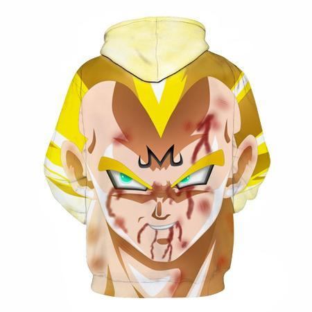Pullover Hoodie - Dragon Ball Z Hoodie Featuring Bloody Majin Vegeta ベジータ