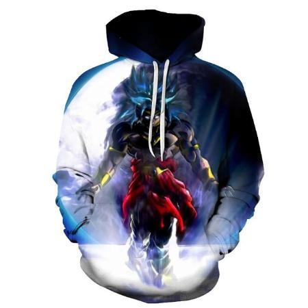 Pullover Hoodie - Dragon Ball Z Hoodie Featuring Broly's ブロリー Super Saiyan Blue Transformation