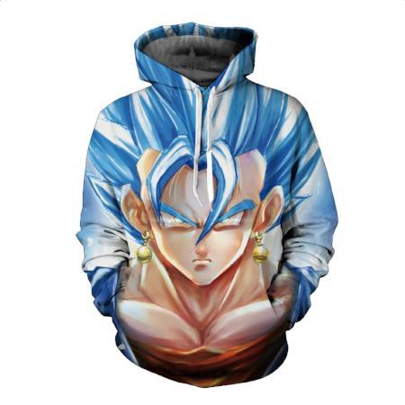 Pullover Hoodie - Dragon Ball Z Hoodie Featuring Face Of Vegito ベジット Super Saiyan Blue