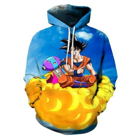 Pullover Hoodie - Dragon Ball Z Hoodie Featuring Goku 悟空 And Zeno 全王 Flying On Nimbus