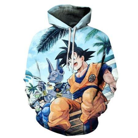Pullover Hoodie - Dragon Ball Z Hoodie Featuring Goku 悟空 Chilling With Beerus ビルス