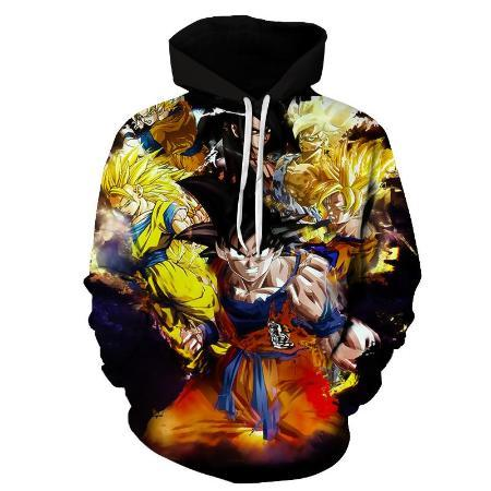 Pullover Hoodie - Dragon Ball Z Hoodie Featuring Goku's 悟空 Different Forms