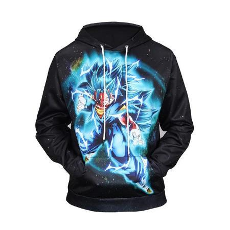 Pullover Hoodie - Dragon Ball Z Hoodie Featuring Lightning Vegito Blue ベジット In Space
