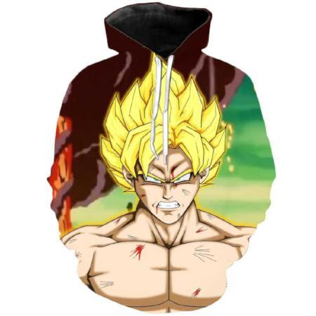 Pullover Hoodie - Dragon Ball Z Hoodie Featuring Mad Goku 悟空 Super Saiyan