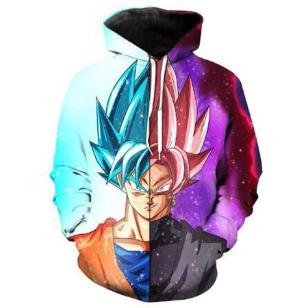 Pullover Hoodie - Dragon Ball Z Hoodie Featuring Merged Super Saiyan Blue Goku And Super Saiyan Rosé Goku Black
