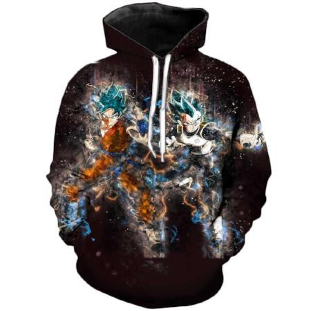 Pullover Hoodie - Dragon Ball Z Hoodie Featuring Super Saiyan Blue Goku 悟空 And Vegeta ベジータ